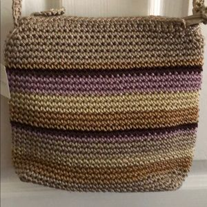 Liz Clairborne Crossbody crochet purse stripe NEW